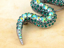 Load image into Gallery viewer, Emerald Green Python Serpent Snake Pin Brooch