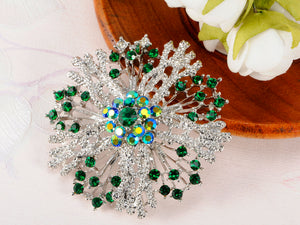 Women Green Flower Brooch Pins Wedding Bridal Gift