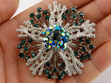 Load image into Gallery viewer, Women Green Flower Brooch Pins Wedding Bridal Gift