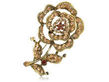 Load image into Gallery viewer, Vintage Amber Topaz Brown Rose Petal Flower Stem Pin Brooch