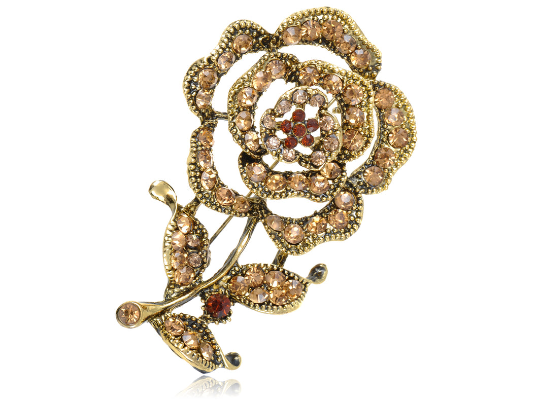 Vintage Amber Topaz Brown Rose Petal Flower Stem Pin Brooch