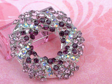 Load image into Gallery viewer, Amethyst Purple Floral Wreath Brooch Pin