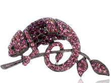 Load image into Gallery viewer, Pink Purple Chameleon Lizard Branch Pendant Brooch Pin