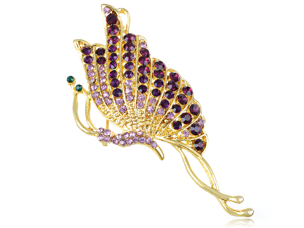 Twisted Amethyst Purple Butterfly Insect Pin Brooch