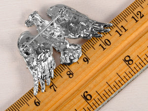 Silver D Patriotic American Majestic Eagle Brooch Pin