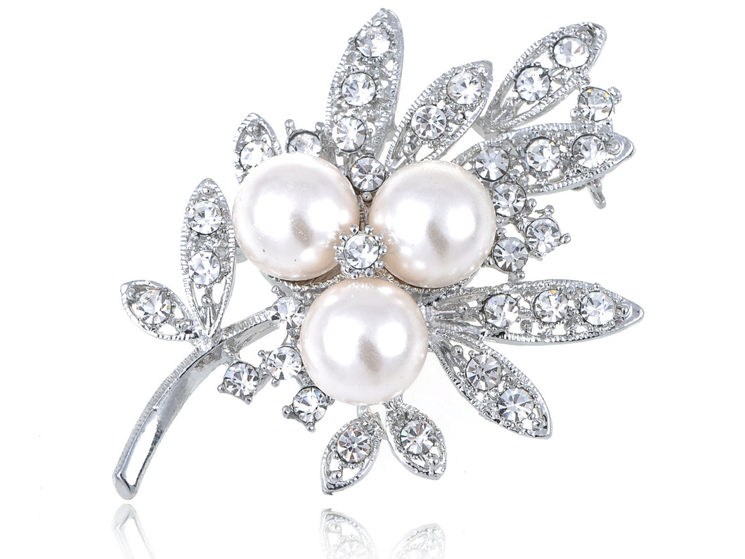 Pearl Festive Tree Leaf Brooch Pin