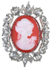 Load image into Gallery viewer, Vintage Floral Victorian Era Cameo Profile Maiden Brooch Pin