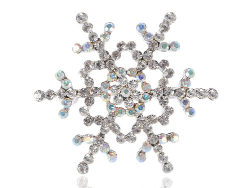 Alilang Womens Silvery Tone Clear Rhinestones Winter Holiday Snowflake Brooch Pin