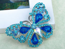 Load image into Gallery viewer, Deep Aqua Blue Sapphire Fairytale Butterfly Insect Brooch Pin