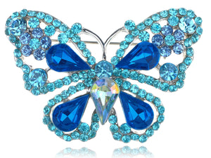 Deep Aqua Blue Sapphire Fairytale Butterfly Insect Brooch Pin
