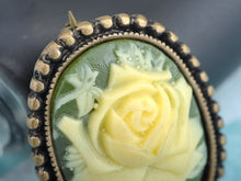 Load image into Gallery viewer, Antique Vintage Green Cameo White Floral Rose Brooch Pin