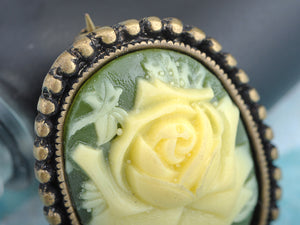 Antique Vintage Green Cameo White Floral Rose Brooch Pin