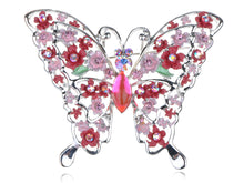 Load image into Gallery viewer, Floral Detail Filigree Fuchsia Ab Pink Butterfly Pin Brooch