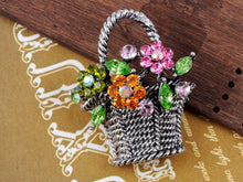 Load image into Gallery viewer, Gun Pink Topaz Green Spring Floral Square Basket Brooch Pin