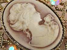 Load image into Gallery viewer, Antique Topaz Colored Vintage Victorian Cameo Brooch Pin