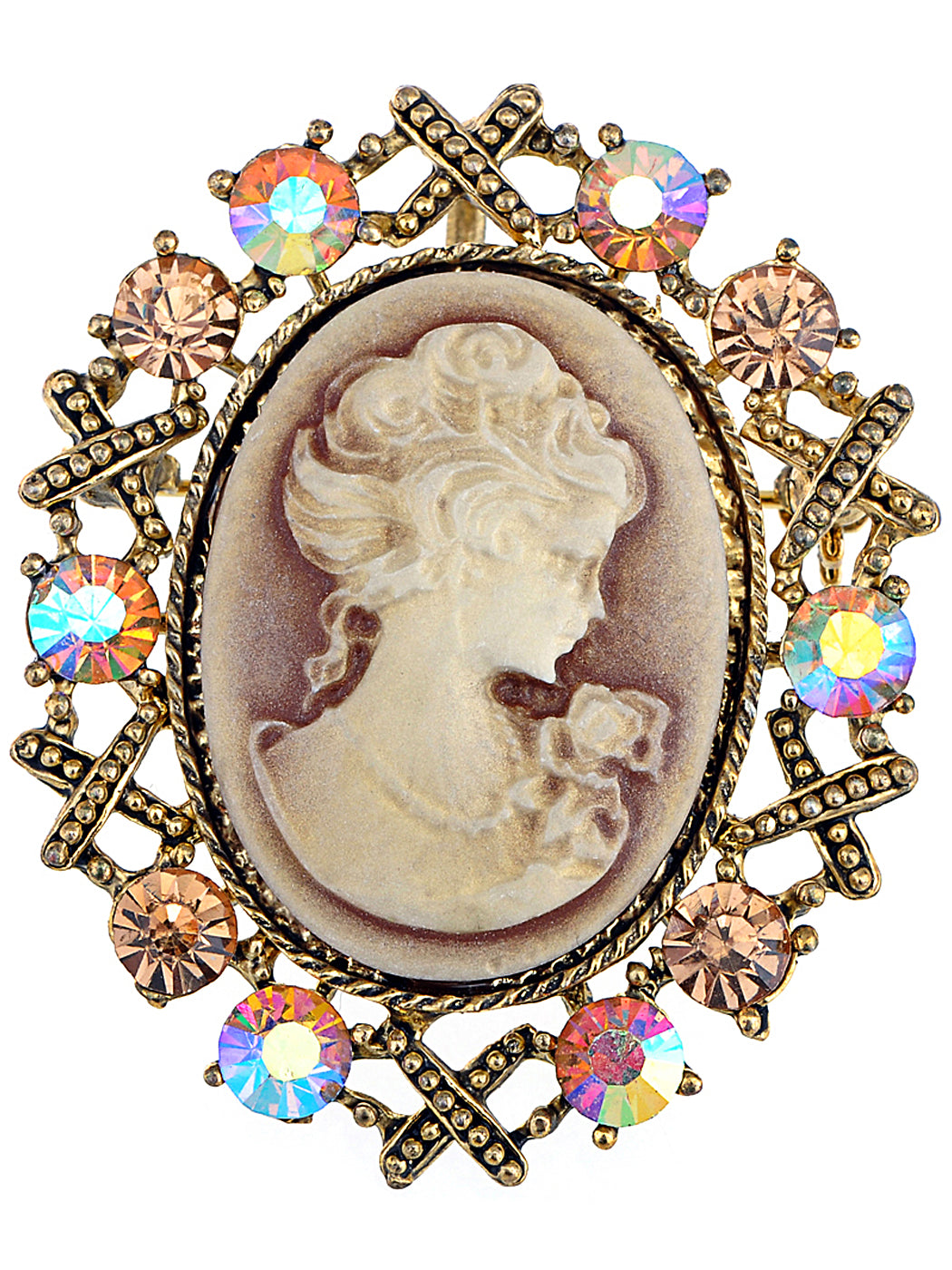 Antique Topaz Colored Vintage Victorian Cameo Brooch Pin