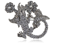 Load image into Gallery viewer, Gun Dark Salamander Lizard Flower Plant Pin Brooch