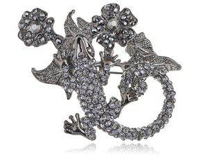 Gun Dark Salamander Lizard Flower Plant Pin Brooch