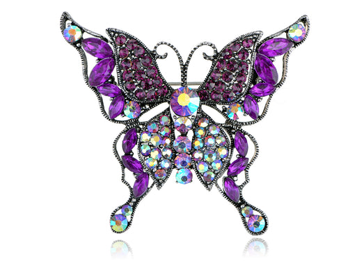 Alilang Purple Crystal Rhinestone Multilayer Butterfly Brooch Pin Silvery Tone Aurora Borealis
