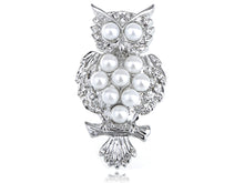 Load image into Gallery viewer, Silver Pearl Bead Alien Owl Bird Branch Pin Brooch