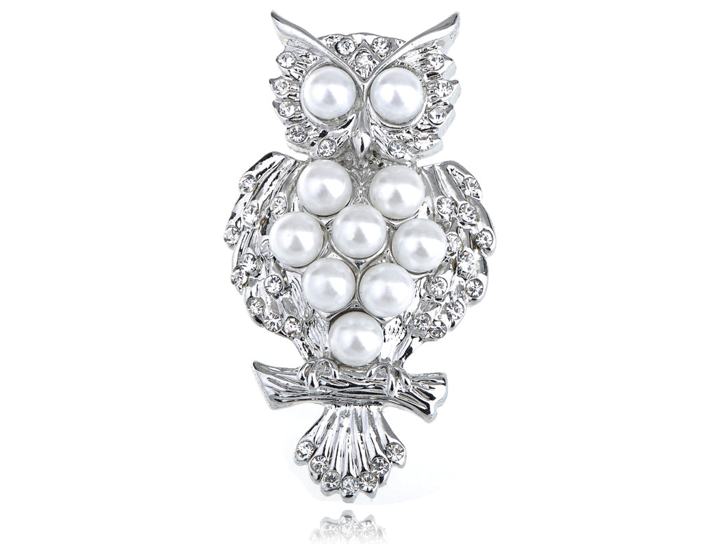 Silver Pearl Bead Alien Owl Bird Branch Pin Brooch