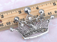 Load image into Gallery viewer, Antique Shine Smoker Topaz Princess Queen King Crown Brooch Pin Pendent