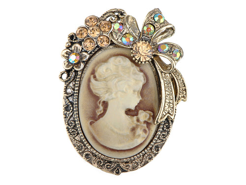 Vintage Victorian Lady Cameo Brooch Pin Maiden Flower Ribbon Bow Pendant