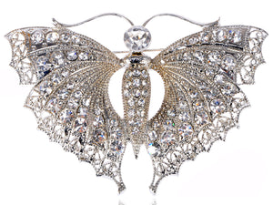 Vintage Silver D Butterfly Moth Insect Convertible To Pendant Brooch Pin