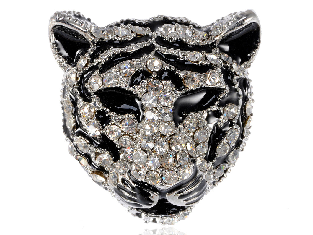 Black Silver Tiger Head King Of The Forest Brooch Pin