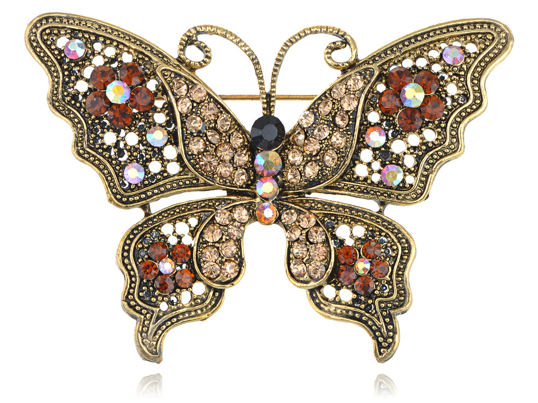 Magnificent Detailed Smoked Topaz Empress Butterfly Pin Brooch