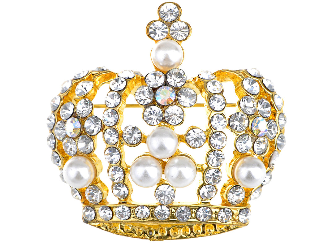Antique Pearl Princess Queen Crown Brooch Pin