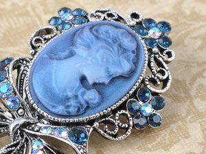 Beautiful Blue Sapphire Ab Cameo Maiden Ribbon Bow Pin Brooch