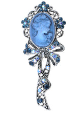 Load image into Gallery viewer, Beautiful Blue Sapphire Ab Cameo Maiden Ribbon Bow Pin Brooch