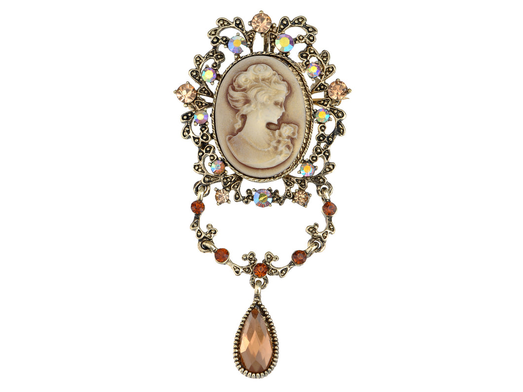 Topaz Flourish Flower Dangle Tear Drop Cameo Lady Pin Brooch