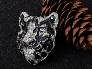 Sleek White Black Panther Tiger Leopard Kitty Cat Warrior Head Pin Brooch