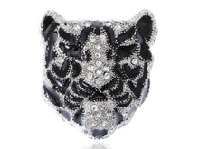 Load image into Gallery viewer, Sleek White Black Panther Tiger Leopard Kitty Cat Warrior Head Pin Brooch