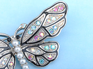 Mosaic Multicolor Pearl Body Butterfly Moth Pin Brooch