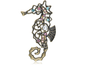 Abstract Art Antique Design Colorful Seahorse Pin Brooch