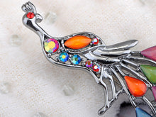 Load image into Gallery viewer, Silver Bead Tail Train Peacock Phoenix Bird Pin Brooch