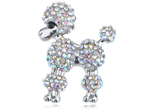 Iridescent Poodle Puppy Show Dog Brooch Pin