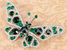 Load image into Gallery viewer, Nickel Emerald Green Colored Butterfly Insect Brooch Pin
