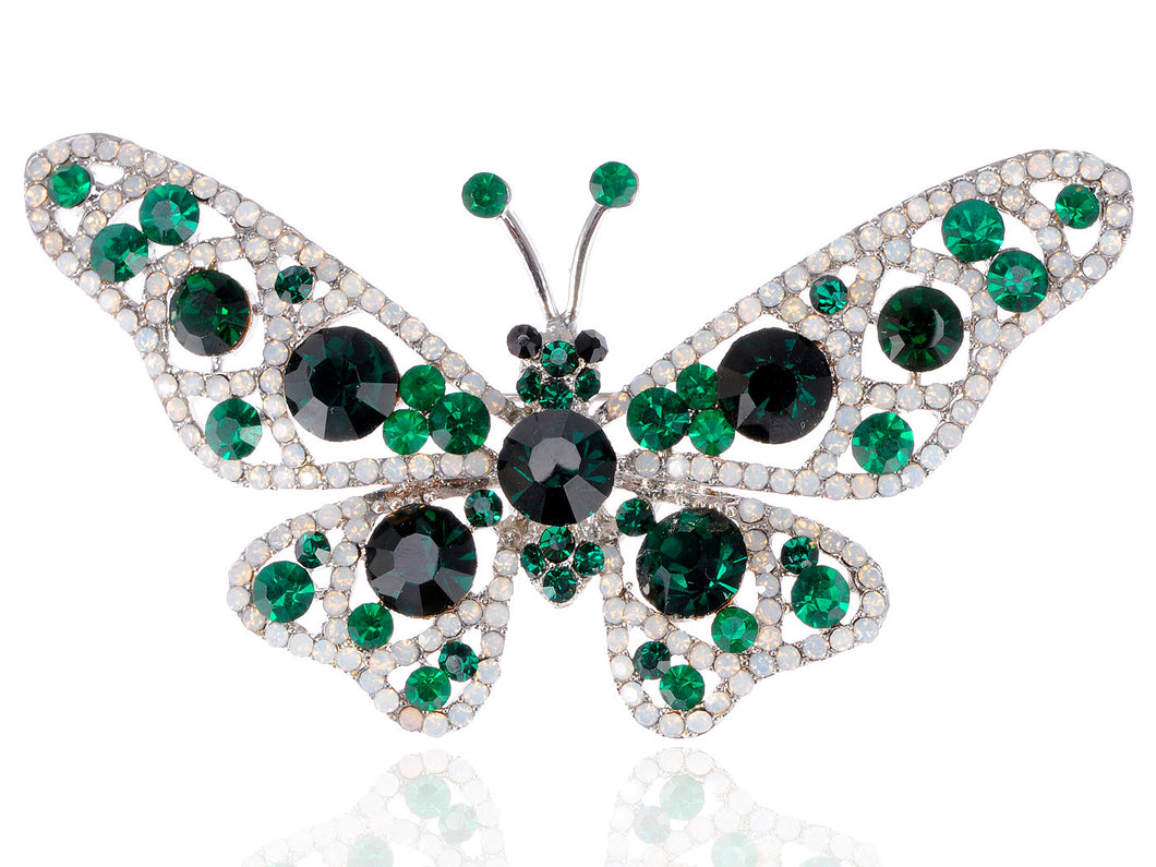 Nickel Emerald Green Colored Butterfly Insect Brooch Pin