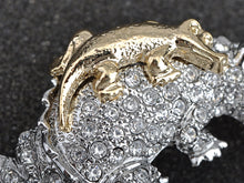 Load image into Gallery viewer, Emerald Eyed Alligator Crocodile Reptile Piggy Back Brooch Pin