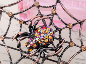 Copper Light Topaz Colored Antique Spider Web Brooch Pin