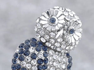Sapphire Blue Hooting Happy Owl Perched Brooch Pin