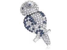 Load image into Gallery viewer, Sapphire Blue Hooting Happy Owl Perched Brooch Pin