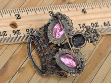 Load image into Gallery viewer, Antique Pink Rose Fuchsia Crown Pin Brooch