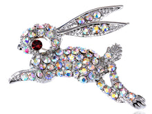 Load image into Gallery viewer, Iridescent Rabbit Bunny Hop Brooch Pin