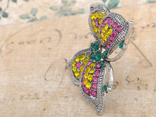 Load image into Gallery viewer, Fuchsia Pink Green Lime Flirty Fun Butterfly Love Pin Brooch