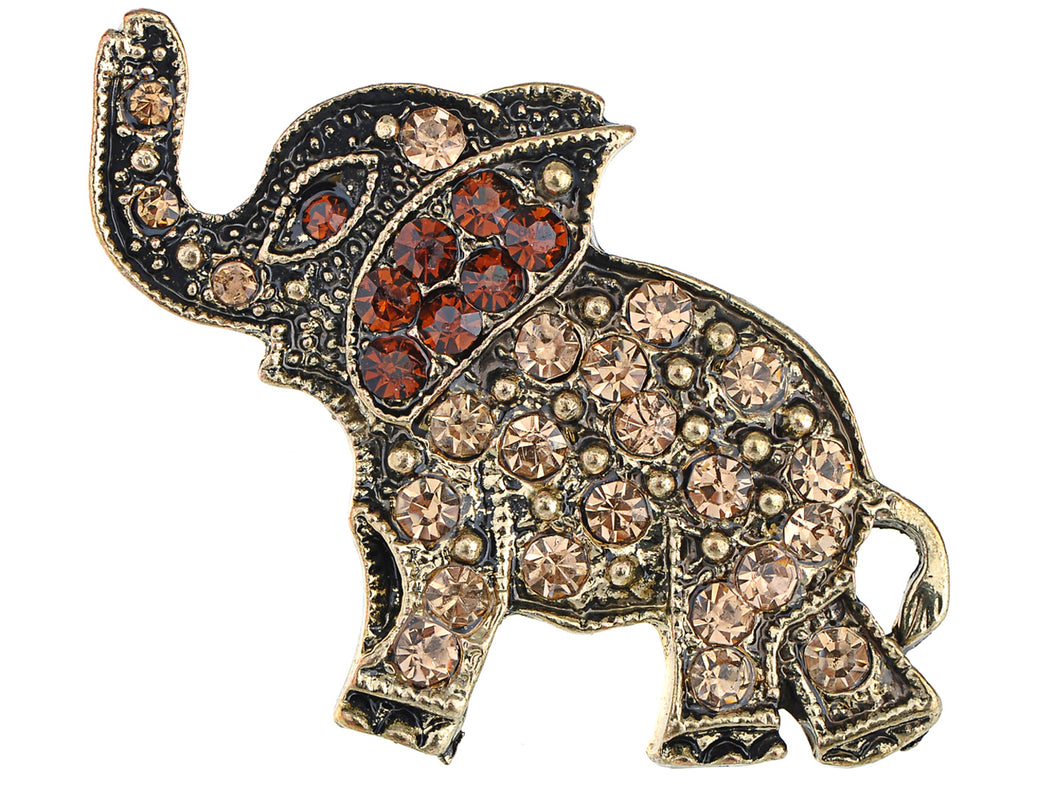 Antique Bronze Brass Topaz Elephant Pin Brooch